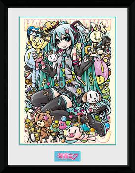 Hatsune Miku - Kawaii Poster encadré en verre