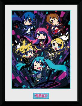Hatsune Miku - Neon Chibi Poster encadré en verre