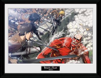 L'attaque des titans - Fight Scene Poster encadré en verre