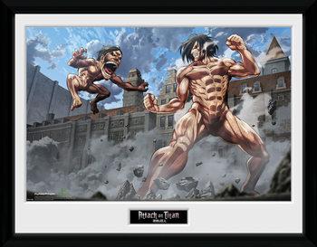 L'attaque des titans- Titan Fight Poster encadré en verre