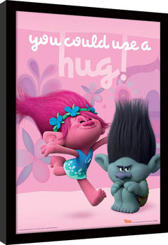 Les Trolls - Hug Poster encadré en verre