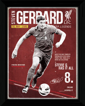 Liverpool - Gerrard Retro Poster encadré en verre