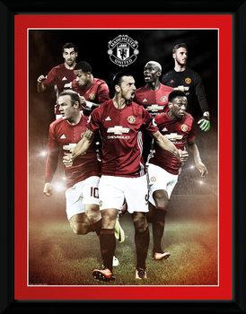 Manchester United - Players 16/17 Poster encadré en verre