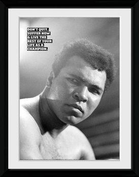 Muhammad Ali - Don't Quit Poster encadré en verre