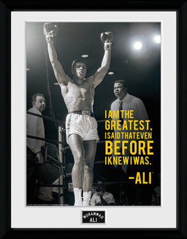 Muhammad Ali - I Am The Greatest Poster encadré en verre
