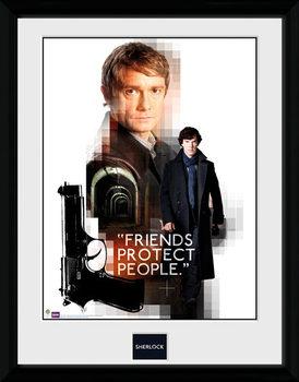 Sherlock - Friends Protect Poster encadré en verre