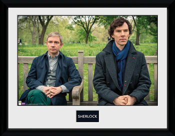 Sherlock - Park Bench Poster encadré en verre
