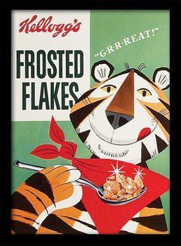 Vintage Kelloggs - Frosted Flakes Poster encadré en verre