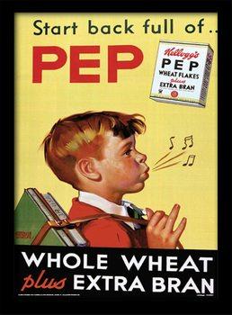 Vintage Kelloggs - Start Back Full Of Pep Poster encadré en verre