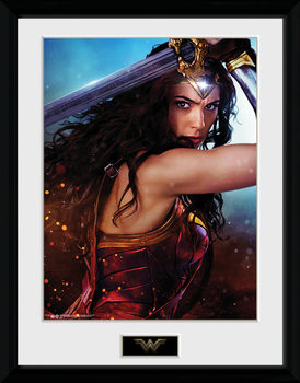 Wonder Woman - Defend Poster encadré en verre