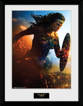 Wonder Woman - Run Poster encadré en verre