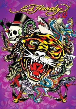 3D Poster ED HARDY - tiger