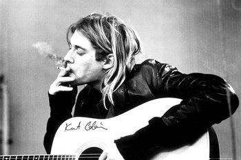 Poster emoldurado Kurt Cobain - smoking