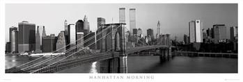 Poster emoldurado Manhattan - morning b&w