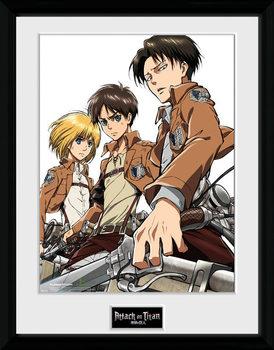 Attack On Titan - Trio Poster emoldurado de vidro
