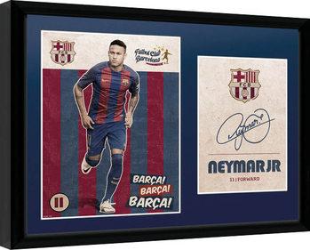 Barcelona - Neymar Vintage 16/17 Poster emoldurado de vidro