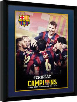 Barcelona - Triple Champions 15 Poster Emoldurado