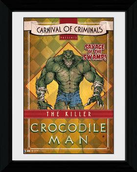 Batman Comic - Circus Crocodile Poster emoldurado de vidro