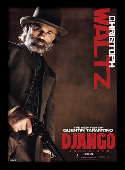 Django Unchained - Christoph Waltz Poster emoldurado de vidro