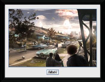 Fallout 4 - Sanctuary Hills Panic Poster emoldurado de vidro