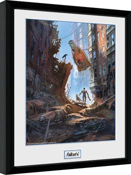 Fallout 4 - Street Scene Poster emoldurado de vidro