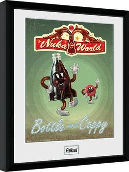 Fallout - Bottle and Cappy Poster emoldurado de vidro