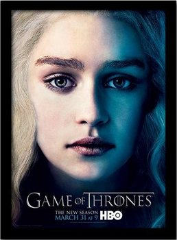 GAME OF THRONES 3 - daenery Poster emoldurado de vidro