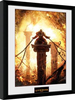 God of War - Kratos Chained Poster emoldurado de vidro