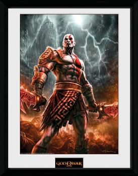 God of War - Kratos Lightening Poster emoldurado de vidro