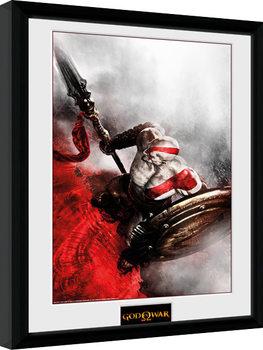 God of War - Kratos Sparta Wing Poster emoldurado de vidro