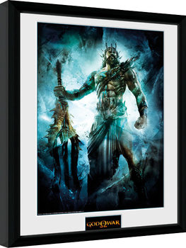 God of War - Poseidon Poster emoldurado de vidro