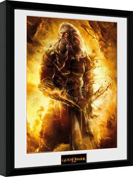 God of War - Zeus Poster emoldurado de vidro