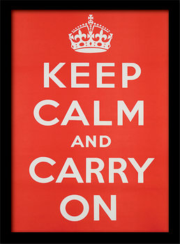 Keep Calm and Carry On Poster emoldurado de vidro