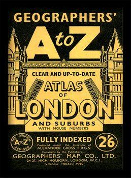 London - A-Z Vintage Poster emoldurado de vidro