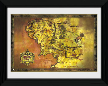 Lord Of The Rings - Middle Earth Poster emoldurado de vidro