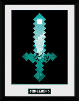 Minecraft - Diamond Sword Poster emoldurado de vidro