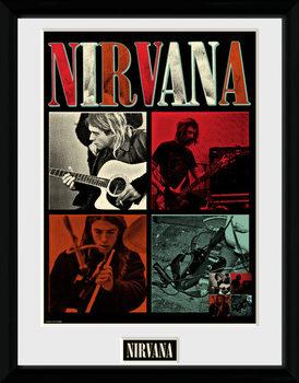Nirvana - Squares Poster emoldurado de vidro
