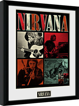Nirvana - Squares Poster Emoldurado