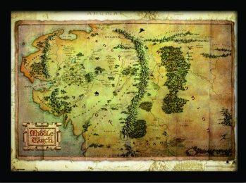 O Hobbit - mapa da Terra Média Poster emoldurado de vidro