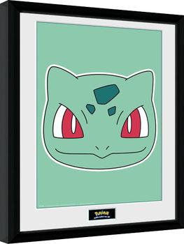 Pokemon - Bulbasaur Face Poster emoldurado de vidro
