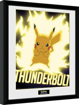 Pokemon - Thunder Bolt Pikachu Poster Emoldurado