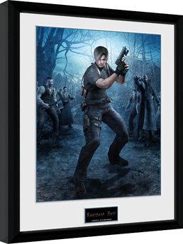 Resident Evil - Leon Gun Poster emoldurado de vidro