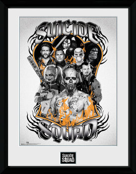 Suicide Squad - Group Orange Flame Poster emoldurado de vidro