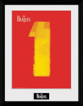 The Beatles - No1 Red Poster emoldurado de vidro