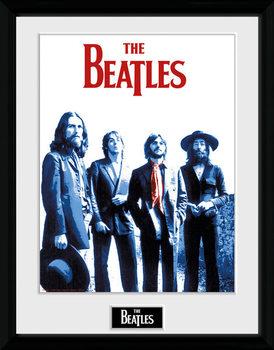 The Beatles - Red Scarf Poster emoldurado de vidro