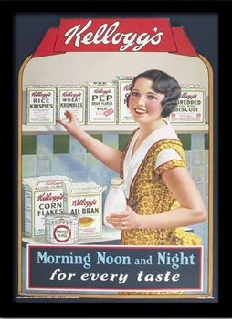 VINTAGE KELLOGGS - morning,noon & night Poster emoldurado de vidro