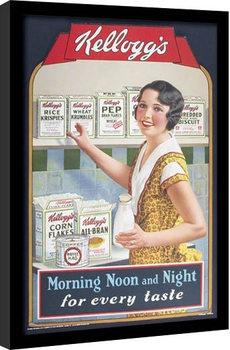 VINTAGE KELLOGGS - morning,noon & night Poster emoldurado de vidro