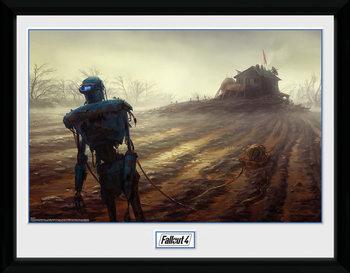 Poster emoldurado de vidroFallout 4 - Farming Robot