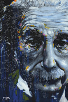 Albert Einstein - It's All Relative, Fishwick Poster, Art Print