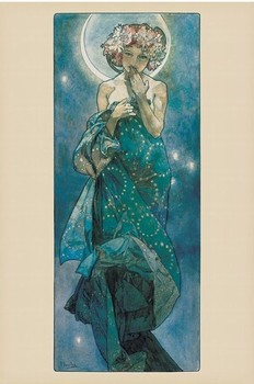 Alfons Mucha - moon Poster, Art Print